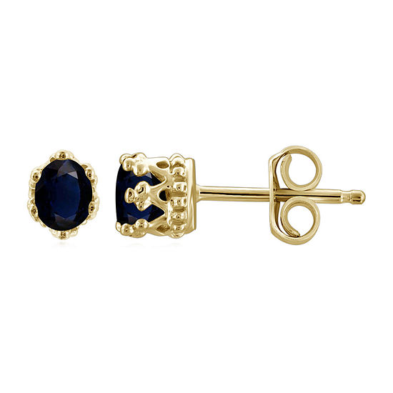 Genuine Blue Sapphire 14K Gold Over Silver 4.1mm Stud Earrings