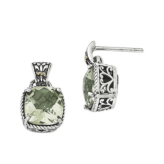 Shey Couture Green Quartz Sterling Silver Antiqued Earrings