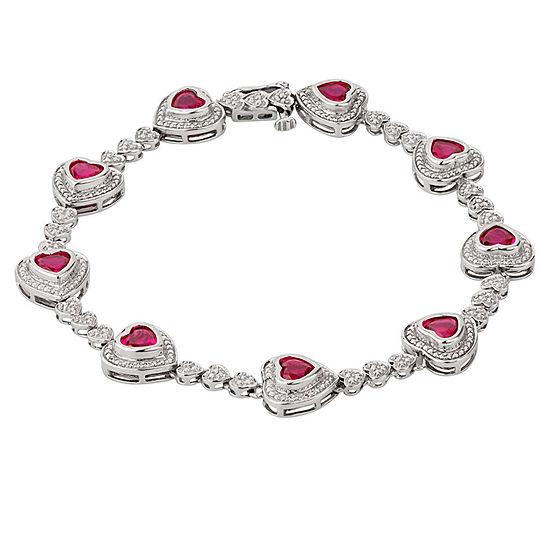 Sterling Silver 7.25 Inch Heart Link Bracelet