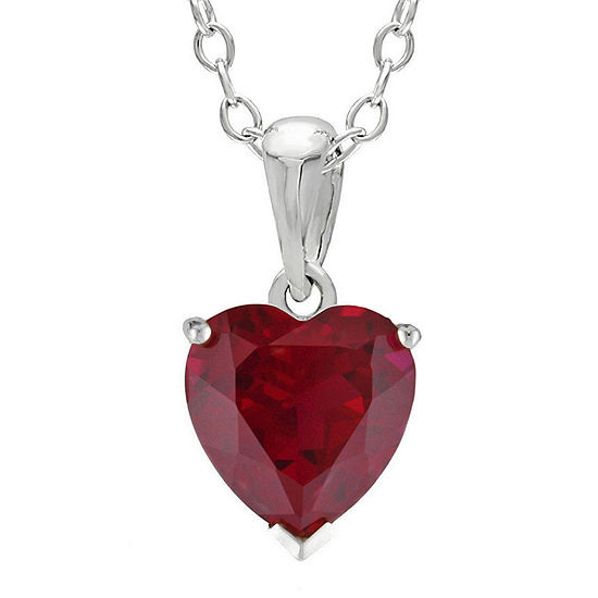 Heart-Shaped Lab-Created Ruby Sterling Silver Pendant Necklace