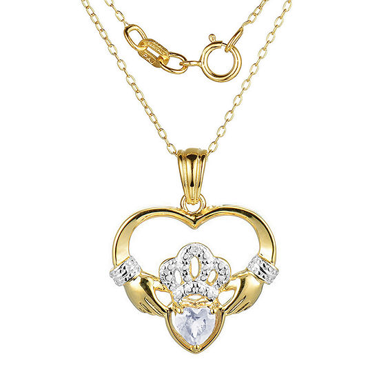 Heart-Shaped Genuine White Topaz and Diamond-Accent Claddagh Pendant Necklace