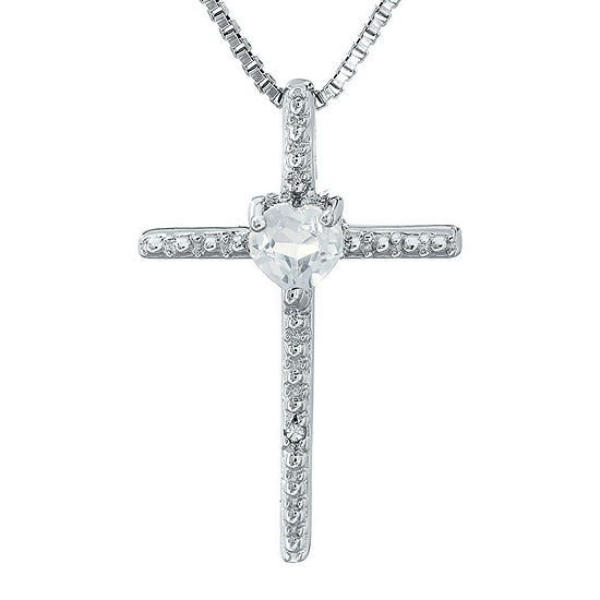 Genuine White Topaz and Diamond-Accent Sterling Silver Cross and Heart Pendant Necklace