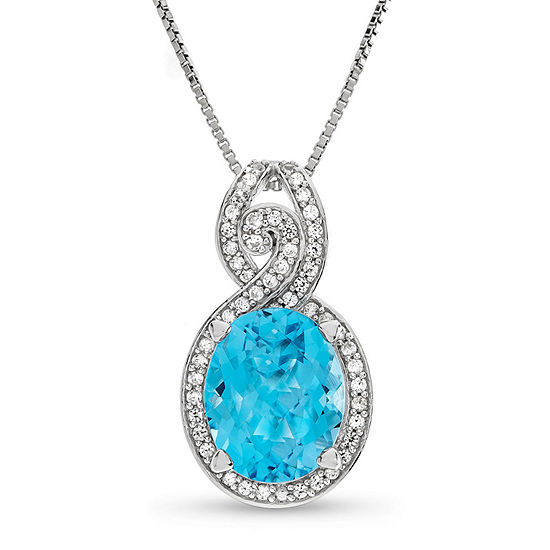 Womens Genuine Topaz Sterling Silver Pendant Necklace