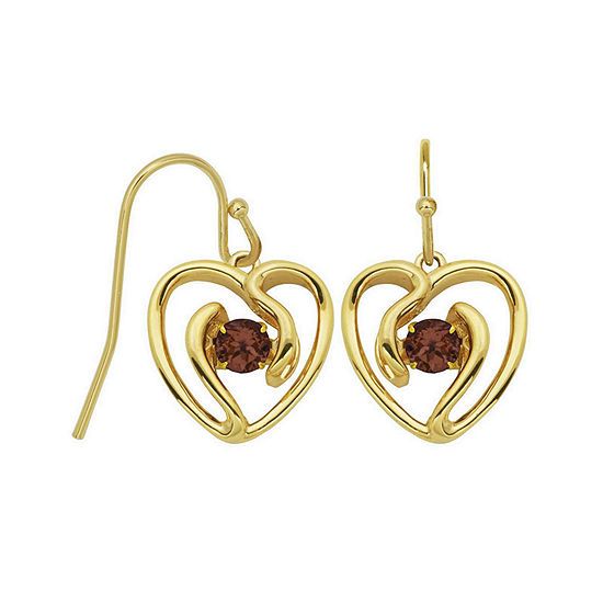 Genuine Garnet Heart Drop Earrings