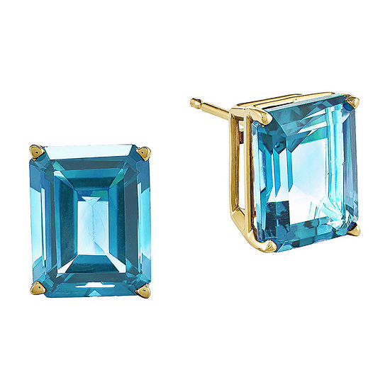 Genuine Swiss Blue Topaz 14K Yellow Gold Emerald-Cut Earrings