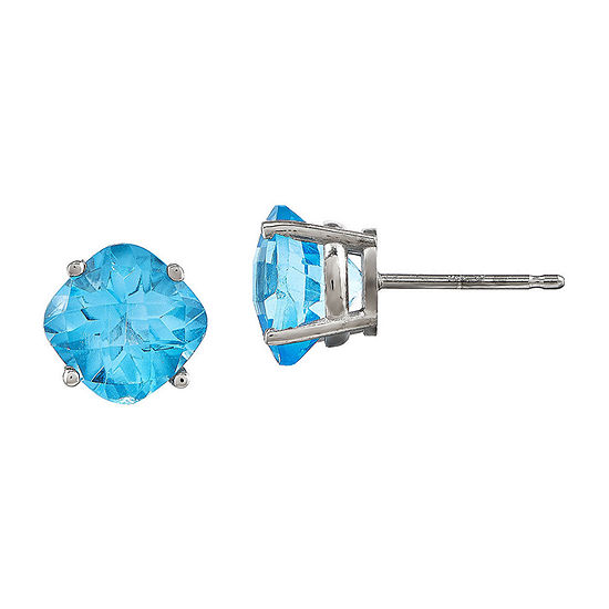Cushion-Cut Genuine Blue Topaz 14K White Gold Stud Earrings