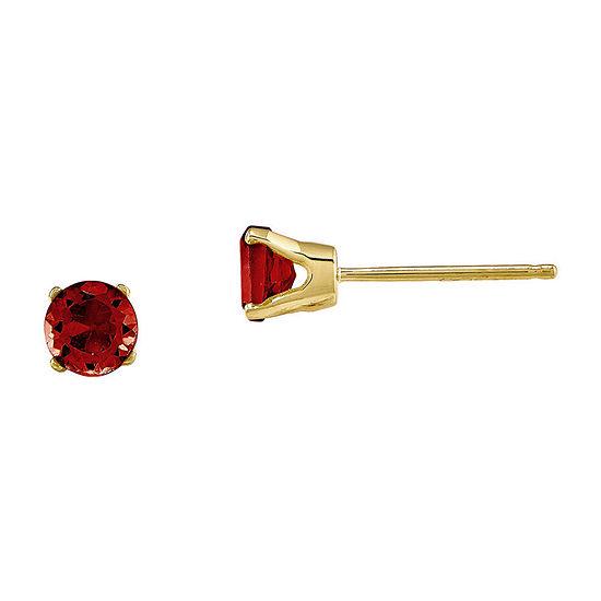 4mm Round Genuine Garnet 14K Yellow Gold Stud Earrings
