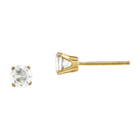 4mm Round Genuine White Topaz 14K Yellow Gold Stud Earrings