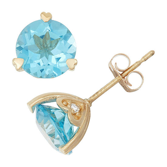 Genuine Swiss Blue Topaz And Diamond Accent 10K Yellow Gold Earrings