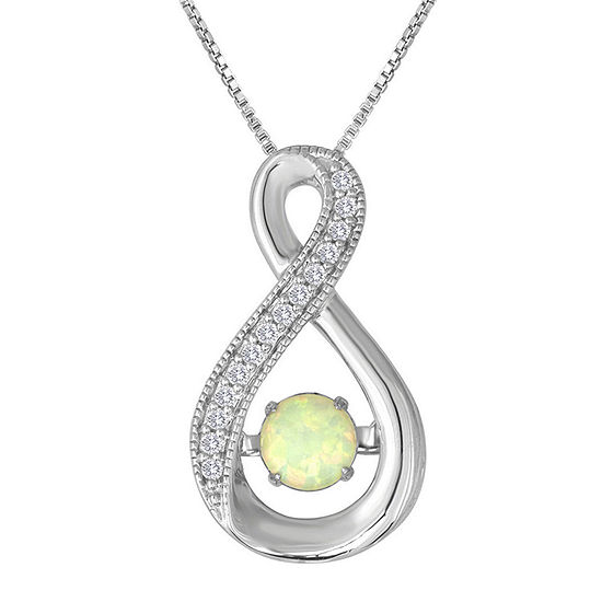 Love in Motion™ Lab-Created Opal and White Sapphire Pendant in Sterling Silver