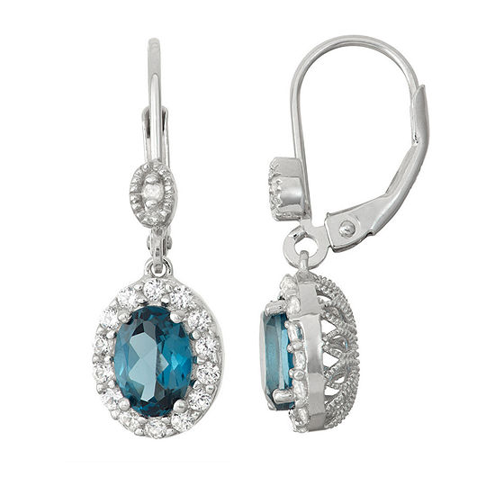 Genuine Blue Topaz & Lab-Created White Sapphire Sterling Silver Leverback Earrings
