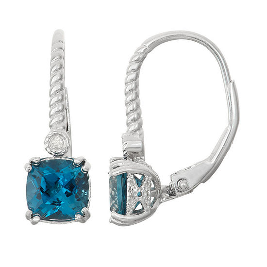 Genuine London Blue Topaz & Diamond Accent Sterling Silver Earrings