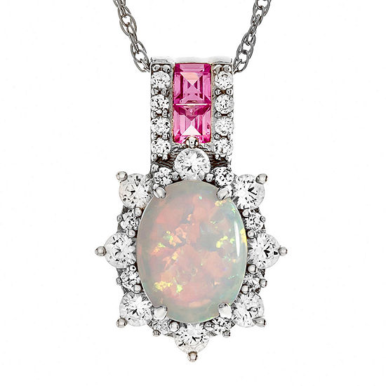 Lab Created Opal & Pink And White Sapphire Sterling Silver Pendant
