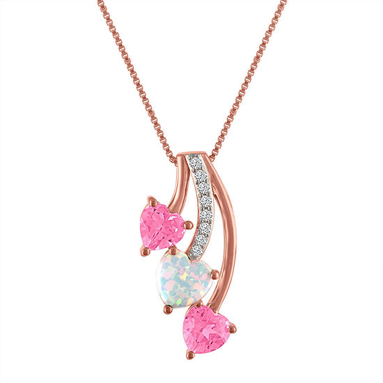 Lab-Created Opal and Pink & White Sapphire 14K Gold over Silver Triple Heart Pendant Necklace