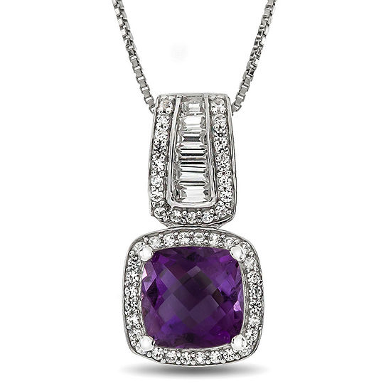 Womens Genuine Purple Amethyst Sterling Silver Pendant Necklace