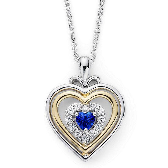 Lab-Created Blue & White Sapphire Two-Tone Heart Pendant Necklace