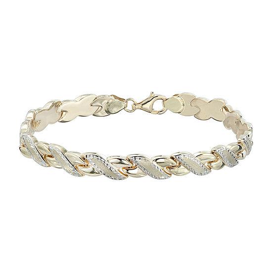 "Two-Tone 10K Gold 8"" Diamond-Cut Stampato Link Bracelet"