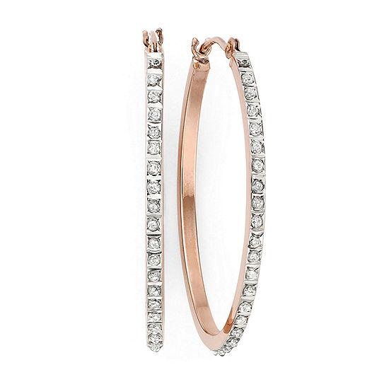 Diamond Fascination™ 14K Rose Gold Oval Hoop Earrings