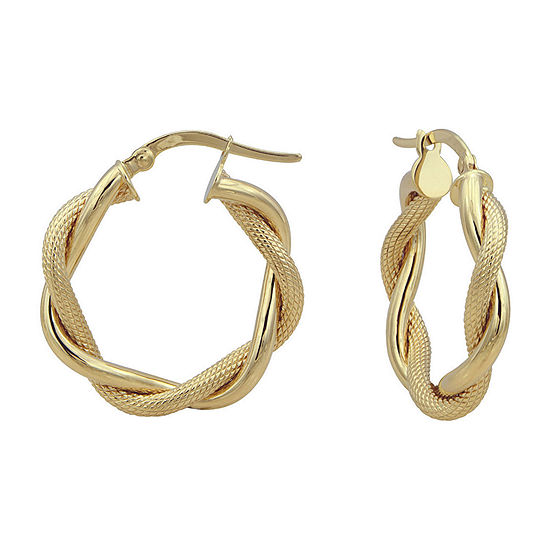 14K Yellow Gold 22.6mm Twist Hoop Earrings