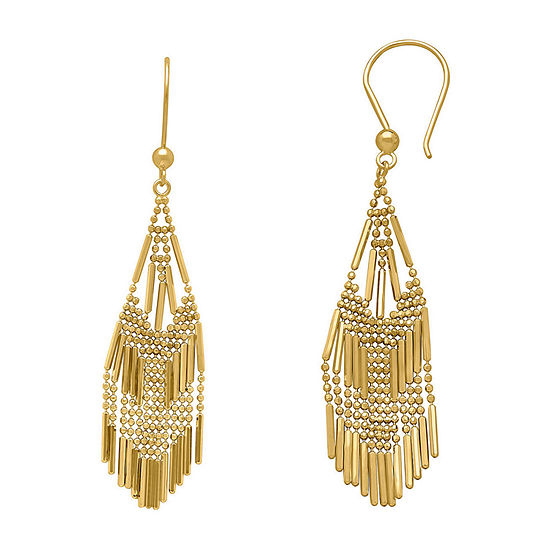14K Yellow Gold Diamond-Cut Beaded Mesh Drop Earrings