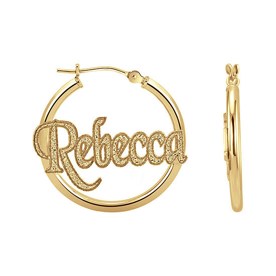 Personalized 14K Gold Over Silver Name Hoop Earrings