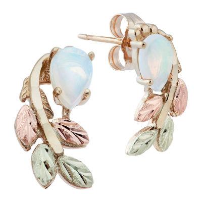 Black Hills Gold White Opal 10K Tri-Color Gold 1/2 Inch Flower Stud Earrings