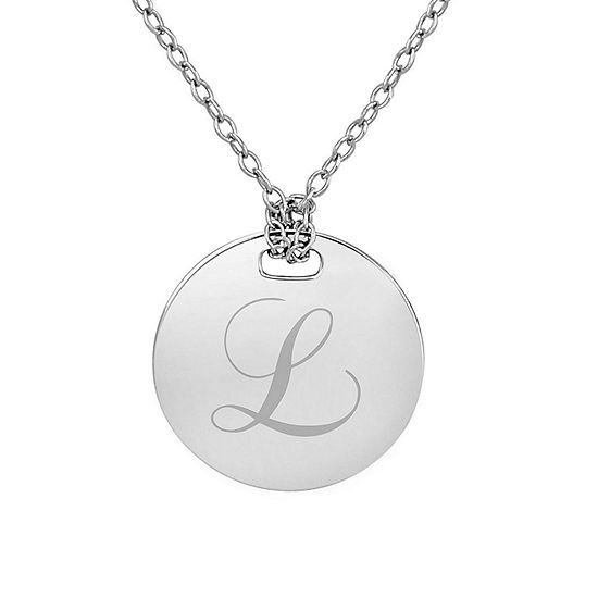 Personalized Sterling Silver 16mm Round Initial Pendant Necklace