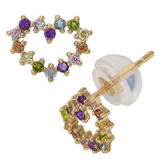 Multi Color Cubic Zirconia 14K Gold 7mm Heart Stud Earrings