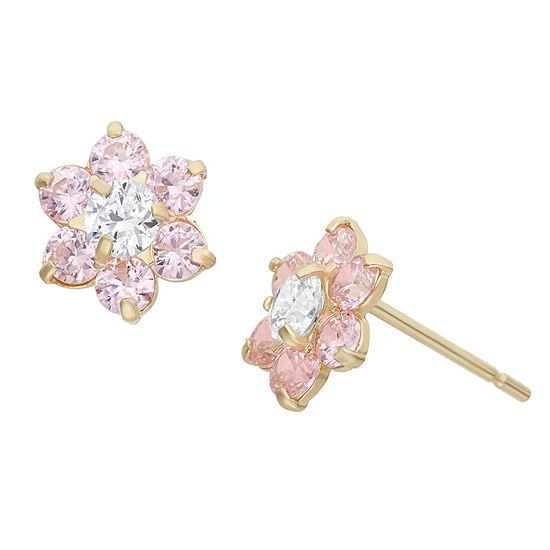 Pink Cubic Zirconia 14K Gold 7.5mm Flower Stud Earrings