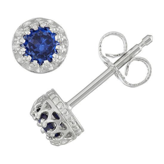 Children's Sterling Silver Sapphire 4mm Stud Earrings