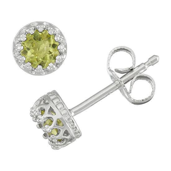 Genuine Green Peridot Sterling Silver 5.2mm Stud Earrings