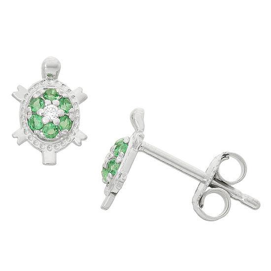 Green Cubic Zirconia Sterling Silver 6mm Stud Earrings