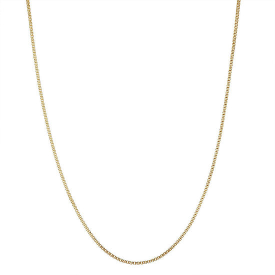 14K Gold Over Silver 15 Inch Solid Box Chain Necklace