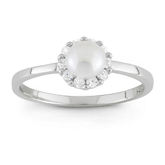 Girls 3MM Genuine White Cultured Freshwater Pearl Sterling Silver Delicate Cocktail Ring