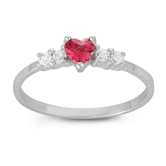 Girls Pink Cubic Zirconia Sterling Silver Heart Delicate Cocktail Ring