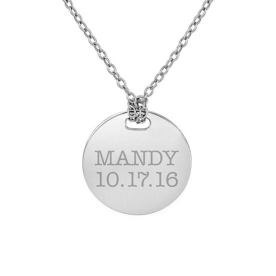 Personalized Sterling Silver 16mm Round Name & Date Pendant Necklace