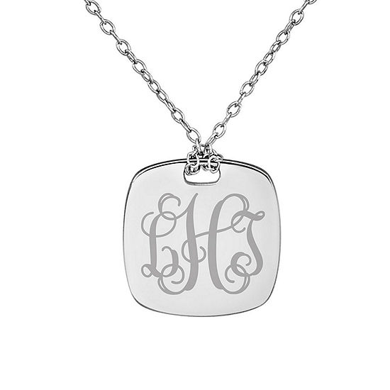 Personalized Sterling Silver 16mm Monogram Pendant Necklace