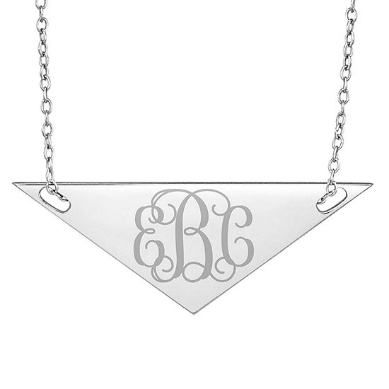 Personalized Sterling Silver Monogram Triangle Necklace