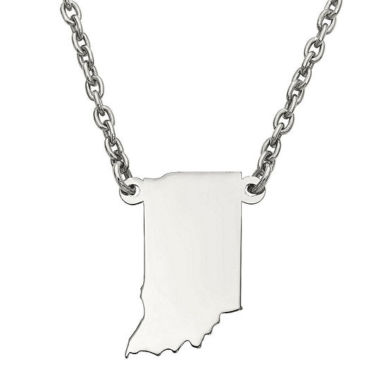 Personalized Sterling Silver Indiana Pendant Necklace