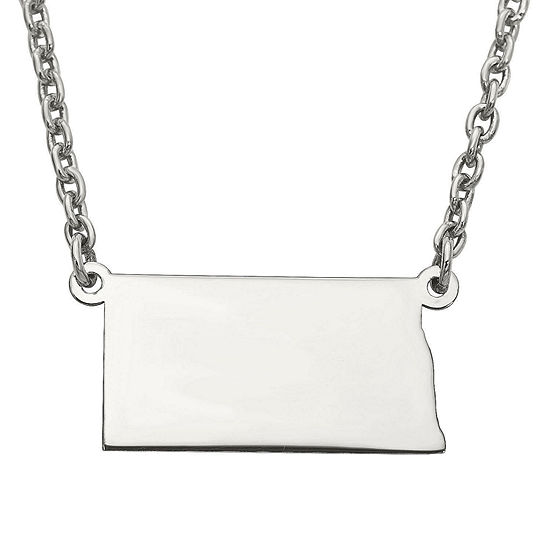Personalized Sterling Silver North Dakota Pendant Necklace