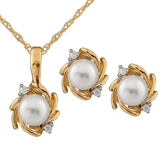 Diamond Accent Genuine White Diamond Cultured Freshwater Pearl 14K Gold 2-pc. Jewelry Set