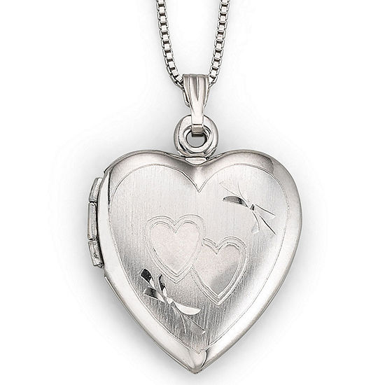 Sterling Silver Double Heart Locket Necklace