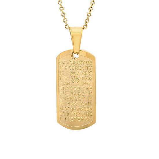 Steeltime Mens 18K Gold Stainless Steel Pendant Necklace