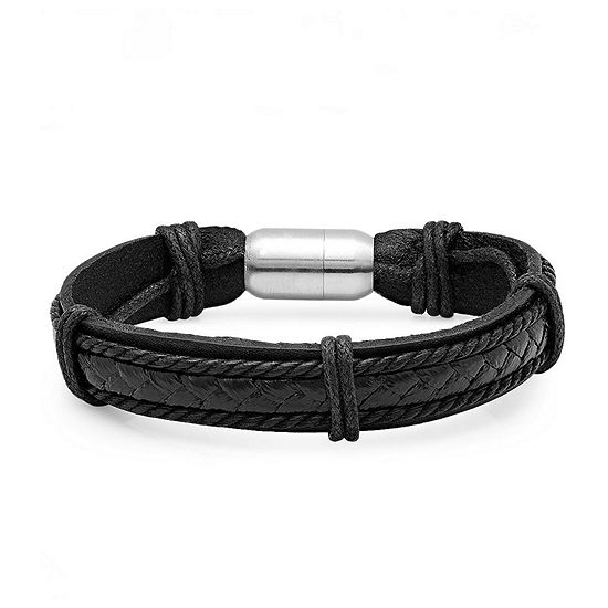 Steeltime Black Braided Leather Stainless Steel 8 1/2 Inch Solid Link Bracelet