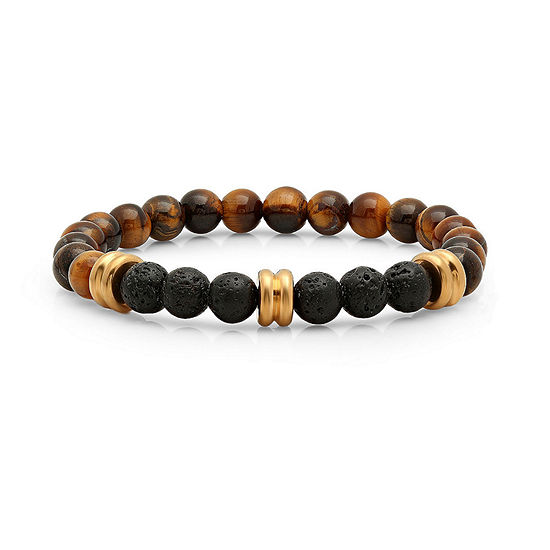 Steeltime Mens Tigers Eye & Black Lava Beaded Bracelet