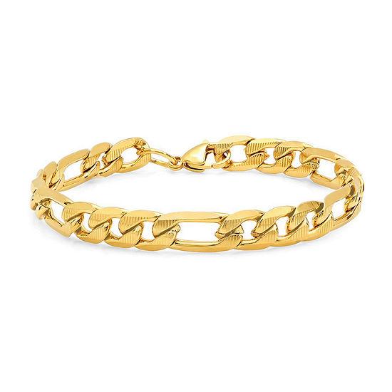Steeltime 18K Gold Over Stainless Steel 8 1/2 Inch Figaro Chain Bracelet