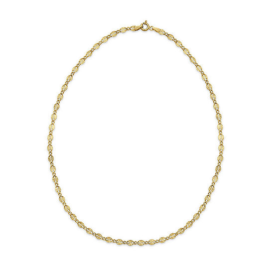 Made in Italy 24K Gold Over Silver 18 Inch Solid Link Chain Necklace