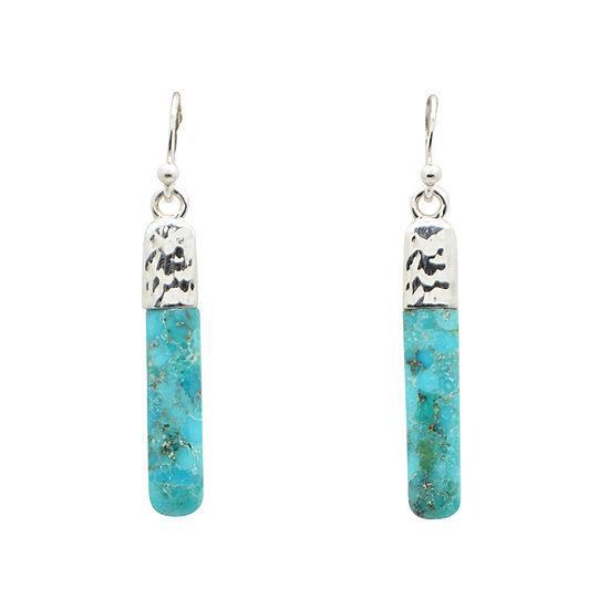 Enhanced Blue Turquoise Sterling Silver Drop Earrings