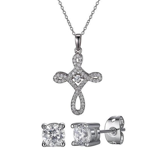 DiamonArt® Lab Created White Cubic Zirconia Sterling Silver Cross 2-pc. Jewelry Set