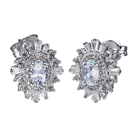 Diamonart Cubic Zirconia Sterling Silver 12.5mm Stud Earrings